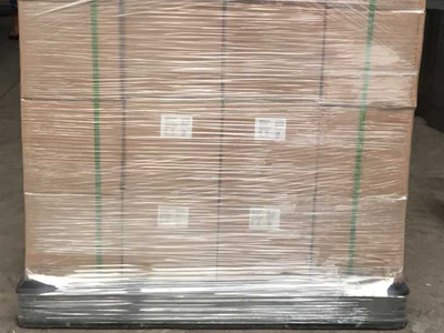 Cartons in pallet, with wrapping film & packing belt